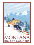 Montana - Big Sky Country - Downhill Skier, c.2008 Prints by  Lantern Press