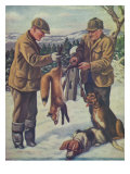 National Sportsman - Two Hunters with their Dogs Take a Fox Out of a Foxtrap, c.1921 Prints by  Lantern Press
