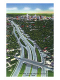 Dallas, Texas - Aerial View of the New Express Highway Through the City, c.1941 Posters