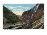 Ogden Canyon, Utah - View of Bridal Veil Falls from the Highway, c.1917 Art by  Lantern Press