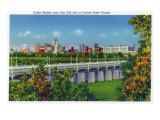Dallas, Texas - Oak Cliff End of Corinth Street Viaduct View of the City Skyline, c.1941 Print by  Lantern Press