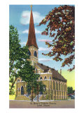 Joliet, Illinois - Exterior View of St. Mary's Catholic Church, c.1944 Poster af  Lantern Press