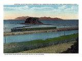 Utah - Train Crossing Lower End of Great Salt Lake, Black Rock, Antelope Island, c.1917 Prints
