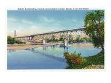 Waco, Texas - General View of the Brazos River Bridge, c.1944 Print