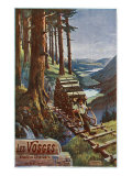 Vosges, France - View of a Lumberjack Carrying Wood, View of the Garardmer Valley, c.1920 Posters by  Lantern Press