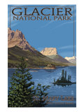 Glacier National Park - St. Mary Lake, c.2009 Prints by  Lantern Press
