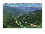 Great Smoky Mts. Nat'l Park, Tn - Chimney Tops View of Newfound Gap Highway, c.1941 Posters