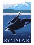 Kodiak, Alaska - Orca and Calf, c.2009 Art by  Lantern Press