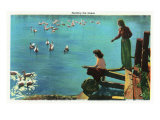 Great Smoky Mts. Nat'l Park, Tn - View of Ladies Feeding Geese, c.1937 Art
