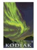 Kodiak, Alaska - Northern Lights and Orcas, c.2009 Poster by  Lantern Press