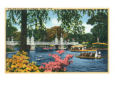 Boston, Massachusetts - View of Swan Boats in the Public Gardens Lake, c.1937 Posters by  Lantern Press