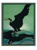 Nature Magazine - View of a Pair of Black Swans in Flight, c.1931 Print by  Lantern Press