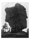 Colorado Springs, Colorado - View of Balanced Rock with Three Ladies in its Shadow, c.1916 Prints by  Lantern Press