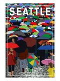 Umbrellas - Seattle, WA, c.2009 Prints by  Lantern Press