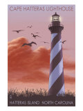Cape Hatteras Lighthouse - North Carolina, c.2009 Art by  Lantern Press