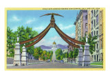 Salt Lake City, Utah - View of Eagle Gate Looking Towards the State Capitol, c.1933 Prints