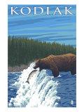 Kodiak, Alaska - Bear Fishing, c.2009 Prints by  Lantern Press