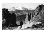 Colorado Springs, Colorado - View of Pikes Peak from Gateway to Garden of the Gods, c.1953 Prints by  Lantern Press