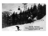 Franconia Notch, New Hampshire - View of Cannon Mt Aerial Tramway, Downhill Skier, c.1939 Prints