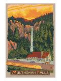 Multnomah Falls View with Train, c.2009 Prints by  Lantern Press