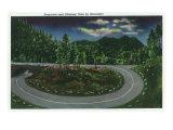 Great Smoky Mts. Nat'l Park, Tn - Moonlight View of Newfound Gap Hwy Loop, Chimney Tops, c.1940 Prints