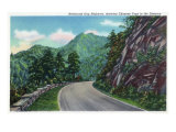 Great Smoky Mts. Nat&#39;l Park, Tn - Newfound Gap Highway Showing Chimney Tops in Distance, c.1946 Prints
