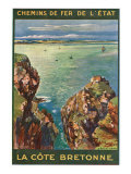 Brittany, France - Panoramic View of the Sea from Rocky Coast, State Railways Postcard, c.1920 Prints