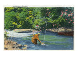 Great Smoky Mts. Nat'l Park, Tn - View of a Fisherman Catching a Fish, c.1946 Prints