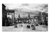 Colorado Springs, Colorado - Pikes Peak Ave View of Antlers Hotel and Pikes Peak, c.1934 Posters
