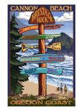 Cannon Beach, Oregon Destinations Sign, c.2009 Prints by  Lantern Press