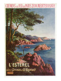 France - View of the Esterel Mountains from Both Cannes and Saint-Raphael, Plm Railways, c.1920 Prints by  Lantern Press