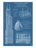 Lantern Press - Sears Tower Blue Print - Chicago, Il, c.2009 - Reprodüksiyon