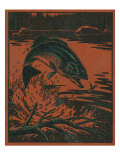 Nature Magazine - View of a Bass Jumping Out of Water to Eat a Dragonfly, c.1952 Posters par  Lantern Press