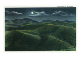 Great Smoky Mts. Nat&#39;l Park, Tn - View of the Mountains in the Moonlight, c.1940 Prints