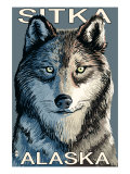 Sitka, Alaska - Wolf Up Close, c.2009 Posters by  Lantern Press