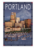 Portland, Oregon - Skyline at Night, c.2009 Prints by  Lantern Press