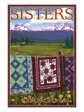 Sisters, Oregon View with Quilts on Fence, c.2009 Print by Lantern Press