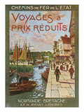 France - Docked Ships, Trips to Normandy, Brittany, Isle of Jersey, London, State Railways, c.1920 Print by  Lantern Press