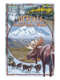 Denali National Park, Ak - Train Version, c.2009 Prints by  Lantern Press