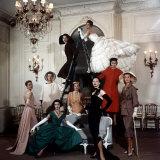 Models Wearing Latest Dress Designs from Christian Dior Fotografisk tryk af Loomis Dean