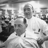 Goldman Sachs and Co. Partner Sidney Weinberg Sitting in Chair at Barber Shop Fotografická reprodukce