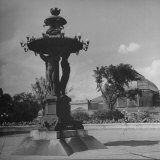 Illuminated Fountain, Designed by Henri Auguste Bartholdi, in the Botanical Gardens Lámina fotográfica