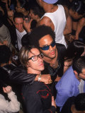 Singers Anthony Kiedis and Lenny Kravitz Premium fotoprint van Dave Allocca