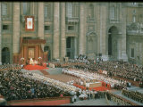 Pope Paul Conducting Opening Ceremonial Mass of 2nd Vatican Council, St. Peter's Basilica Lmina fotogrfica de primera calidad por Carlo Bavagnoli