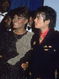 Singers Dionne Warwick and Michael Jackson at the Grammy Awards Fototryk i hj kvalitet