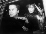 Actress Susan Sarandon in Car with Actor Tim Robbins after Attending a Benefit Fototryk i høj kvalitet