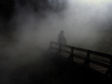 Adult and Children on Foggy Pier Print by Krzysztof Rost
