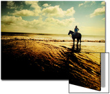Woman Horseback at Edge of the Water Print by Jan Lakey