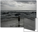 Child Standing at the Edge of Tide Prints by Krzysztof Rost