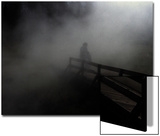 Adult and Children on Foggy Pier Prints by Krzysztof Rost